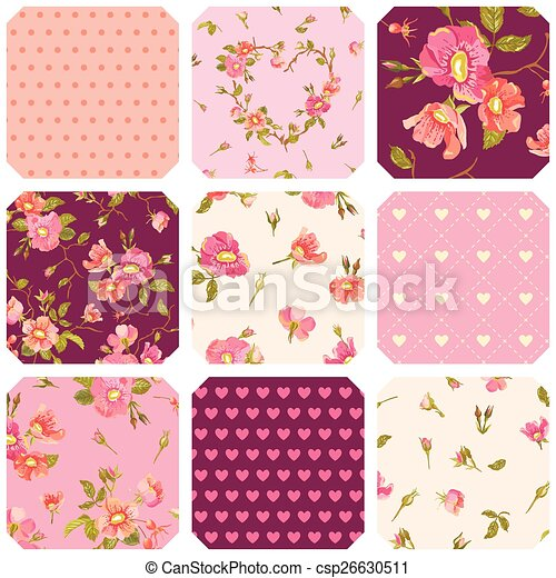 Patchwork With Roses Background Seamless Floral Shabby Chic Pattern In Vector