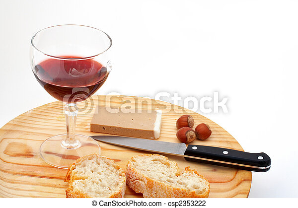 Pate, bread, glass of red wine, hazelnuts and knife a wood plate on white background - csp2353222