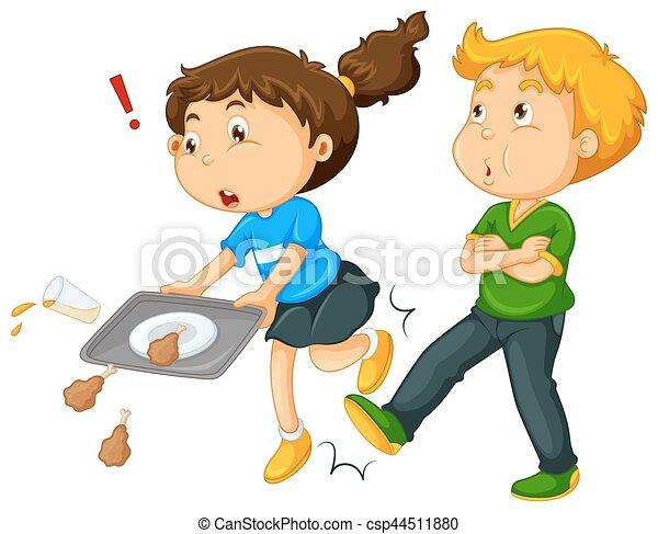 Chico pateando la pierna de la chica - csp44511880