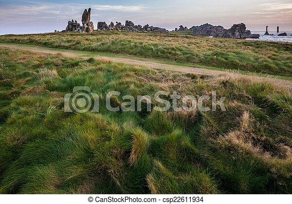 Path in coastline meadow - csp22611934