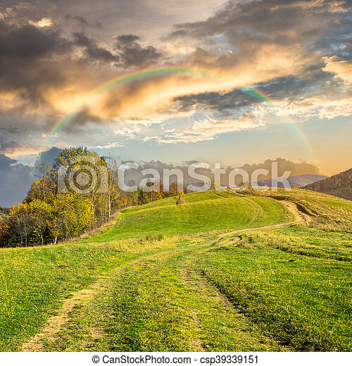 path on hillside meadow in mountain at sunrise - csp39339151