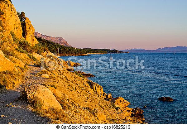 Path on rocky Croatian seashore - csp16825213
