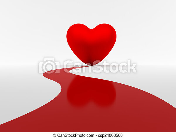 Line Art Love Heart : Path to love red leading iconic heart shape on stock