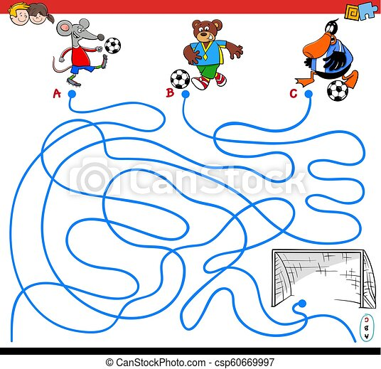 paths maze game with animals playing soccer