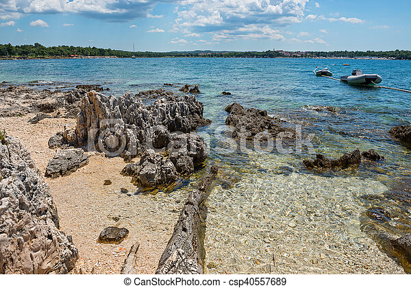 Pathway on the beautiful rocky beach in Istria - csp40557689