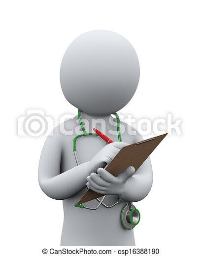 patiënt, arts, medisch, schrijvende , 3d, geschiedenis - csp16388190