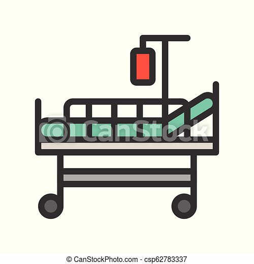 patient bed and blood bag, filled outline icon - csp62783337