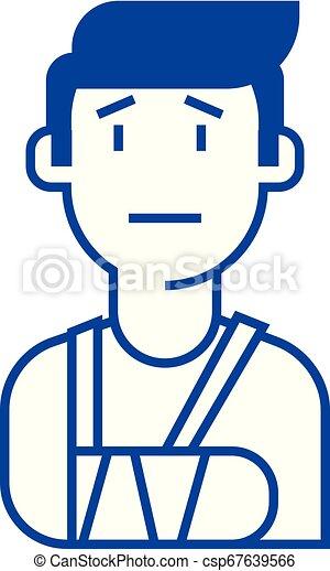 Patient, broken hand line icon concept. Patient, broken hand flat vector symbol, sign, outline illustration. - csp67639566