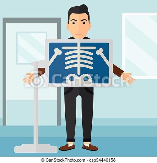 Patient during x-ray procedure. - csp34440158