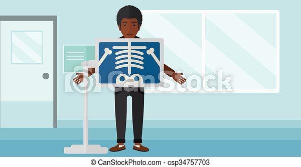 Patient during x-ray procedure. - csp34757703