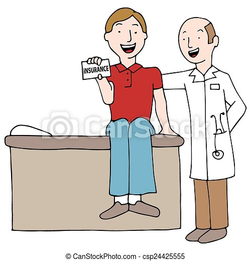 patient holding insurance card csp24425555