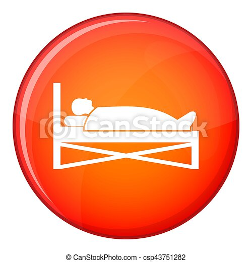 Patient in bed in hospital icon, flat style - csp43751282