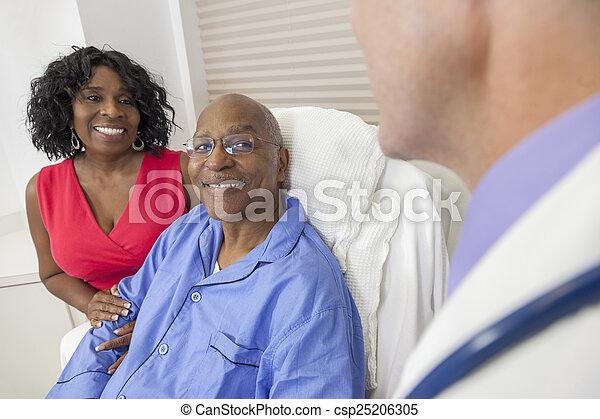 patient, lit hôpital, américain, africaine, homme aîné - csp25206305