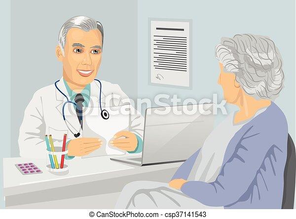 patient, mûrir, bureau, docteur, consultation, femme, personne agee, avoir - csp37141543
