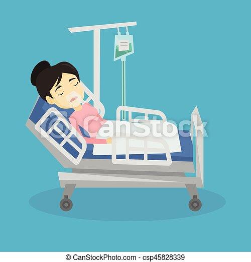 vecteurs de patient oxyg ne lit h pital mask mensonge carr e csp45828339 rechercher. Black Bedroom Furniture Sets. Home Design Ideas