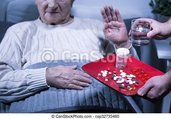 Patient refuse medicines - csp32733460