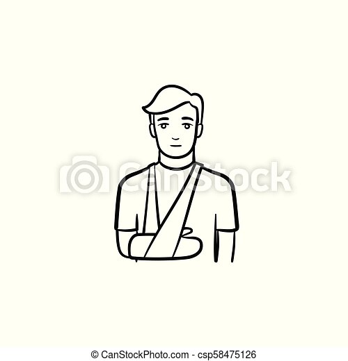 Patient with broken arm hand drawn outline doodle icon - csp58475126