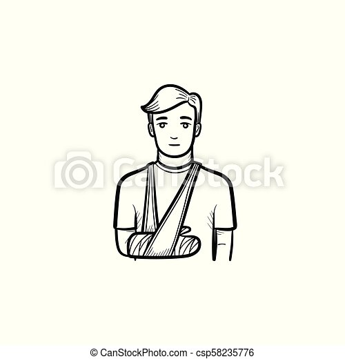Patient with broken arm hand drawn outline doodle icon - csp58235776