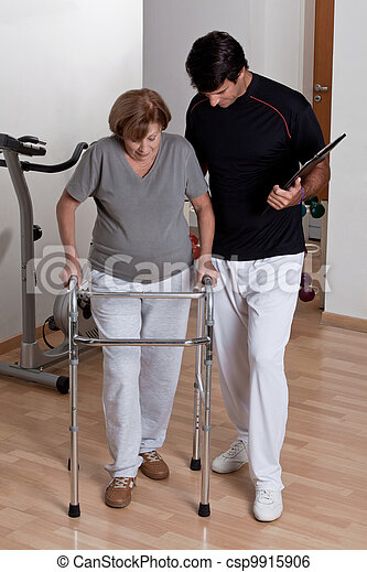 Patient with Walker and Physician - csp9915906
