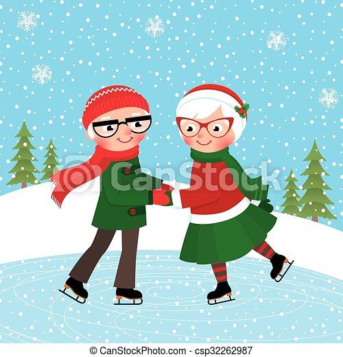 Vecteur de patinage couple patinoire m rir patinage couples m rs csp32262987 - Dessin patinoire ...