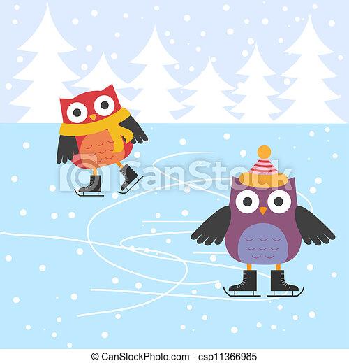 Lechuzas de patinaje sobre hielo - csp11366985