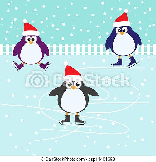 Patinando sobre lindos pingüinos - csp11401693
