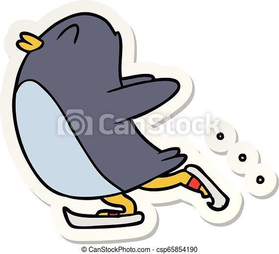 Pegatina de un dibujo de pingüinos patinaje sobre hielo - csp65854190