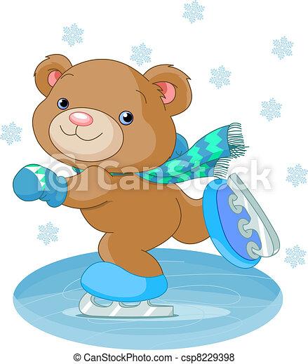 Lindo oso en patines de hielo - csp8229398