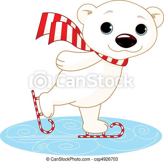 Oso polar en patines de hielo - csp4926703