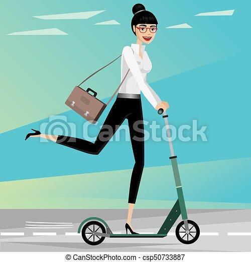 La mujer de negocios va en moto - csp50733887