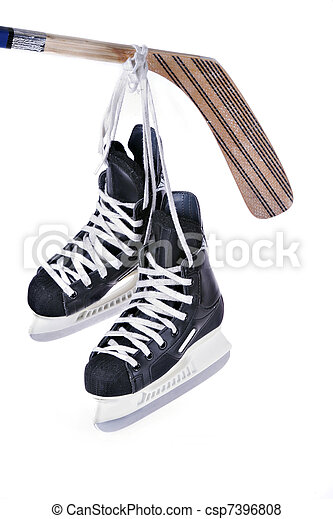 patins, isolé, crosse, hockey - csp7396808