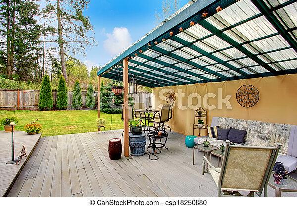 Patio pergola design - csp18250880
