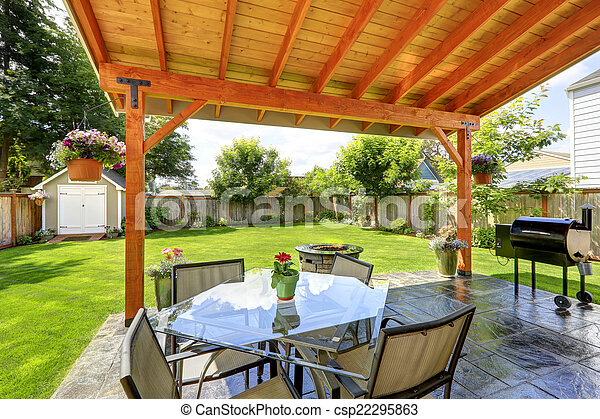 Patio set with glass top table and chairs - csp22295863