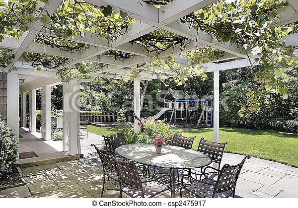 Patio with white wood beams - csp2475917