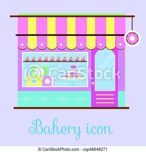 La vista de la fachada de la panadería. icono de Bakehouse. Una pastelería, pastelería, una tienda de dulces. Ilustración de vectores - csp46648271