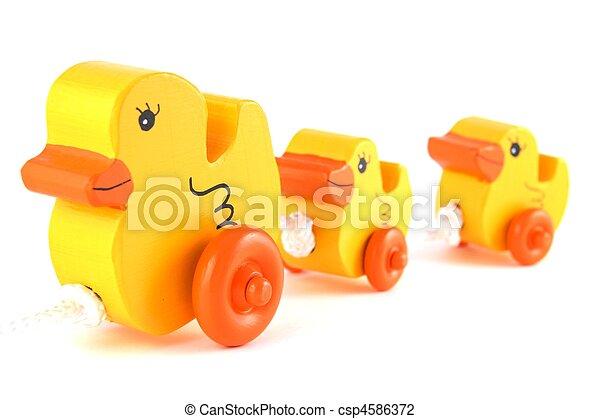 pato, fila, hechaa mano, amarillo, juguetes - csp4586372
