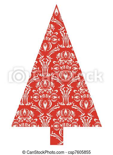 Árbol de Navidad con un patrón rojo - csp7605855