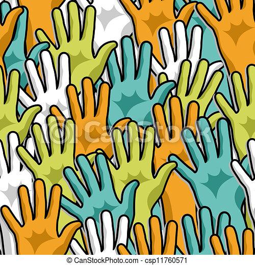 patrón, arriba, democracia, manos - csp11760571