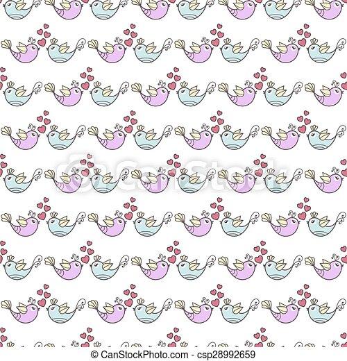 patrón, aves, corazones - csp28992659