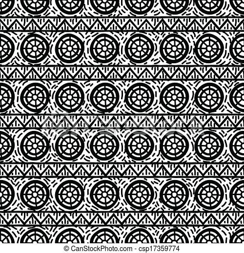 Patrón étnico blanco y negro - csp17359774