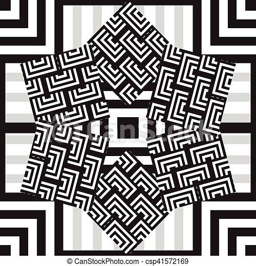 Patrón étnico blanco y negro sin costura - csp41572169