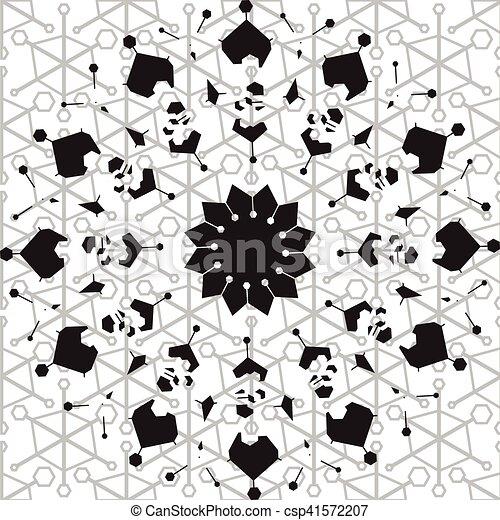 Patrón étnico blanco y negro sin costura - csp41572207