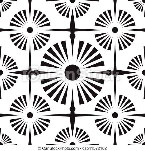 Patrón étnico blanco y negro sin costura - csp41572182