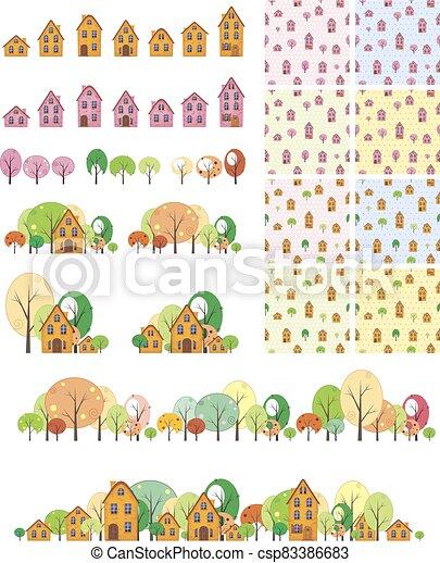 patrón, casas, árboles, seamless - csp83386683