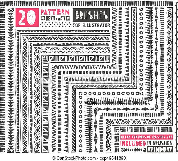 Un conjunto de 20 pinceles para Illustrator. - csp49541890