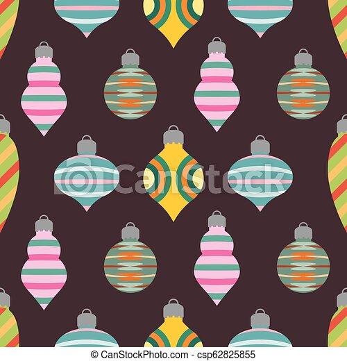 Patrón de fondo sin costura con balones de Navidad - csp62825855