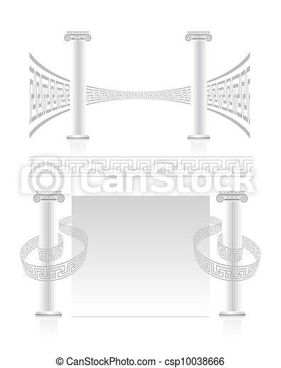 Columna iónica con patrón de clave griego - csp10038666