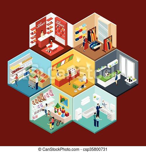 Comprar una composición hexagonal del centro comercial - csp35800731