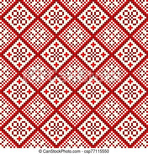 patrón, cruz, seamless, stich, rojo - csp77115550