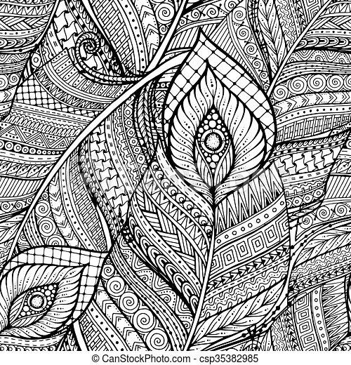 Fideos étnicos sin costura, en blanco y negro, con plumas. - csp35382985